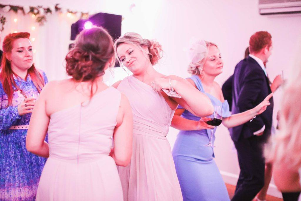 Guests having fun with Hampshire Event DJs, providing services for Wedding DJ at Farbridge Barn