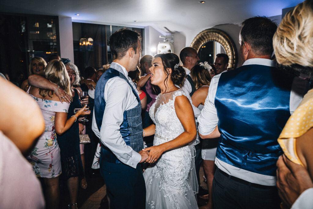 Sam & Sean dancing with the wedding DJs at Wickham Vineyard